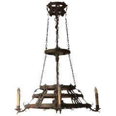 Huge 19th Century 1915 Original Wrought Iron Chandelier