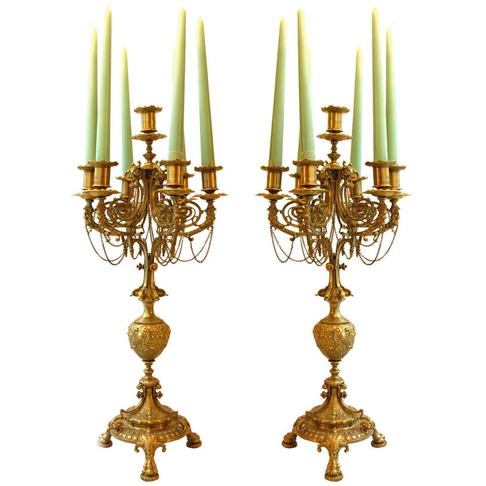 Original 19th Ctry-1880-Historistic Candlesticks Candle holder Louis Seize style