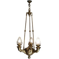 1920 Chandelier in the Style of a roman oil lamp, Original