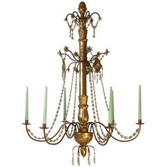 Original 19th (1850) Century Carved and Gilded Biedermeier Chandelier