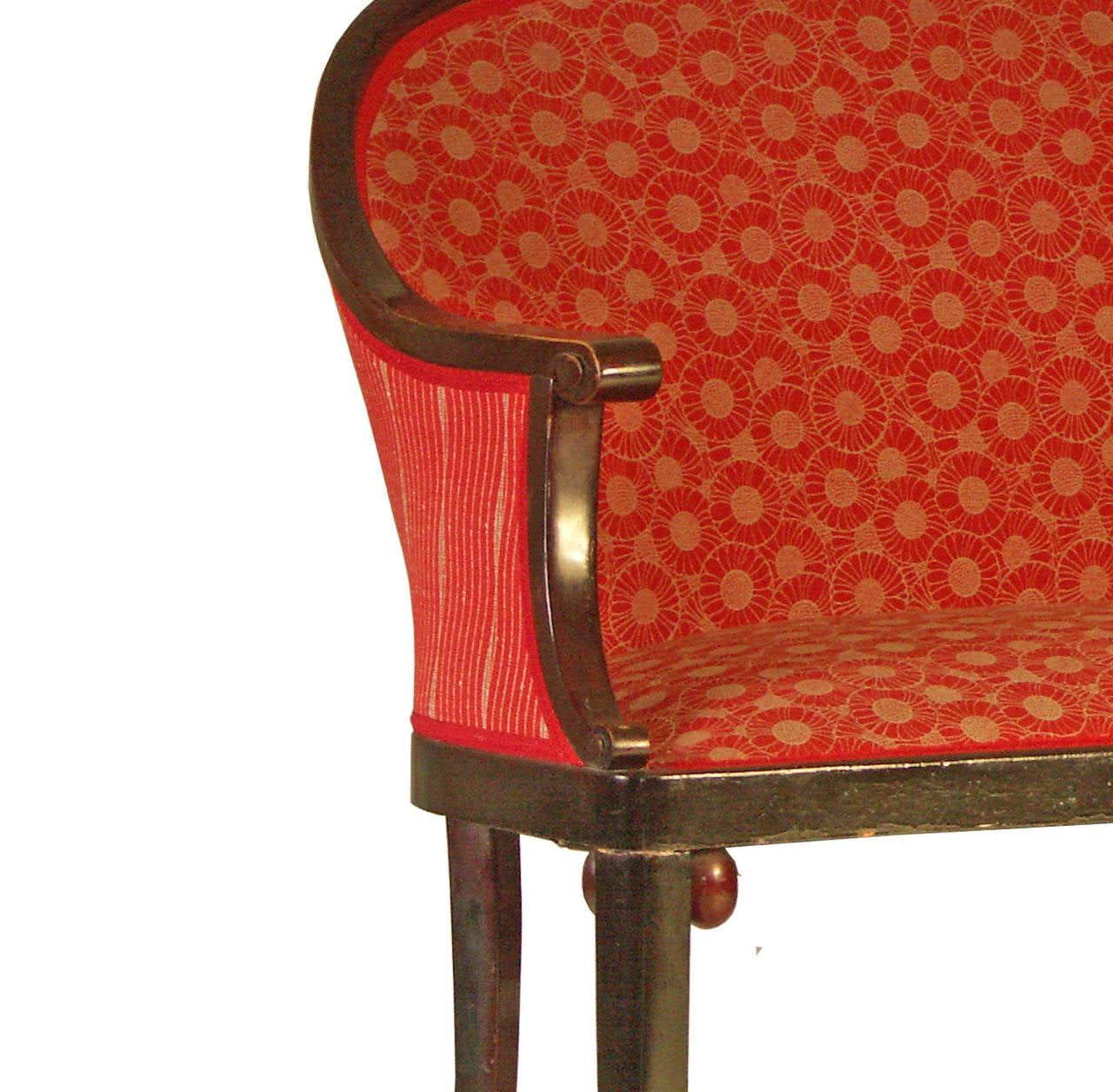 Attributed to either Josef Hoffmann or Otto Prutscher as both of the designers did similar objects in bentwood at this time, and both were using balls or olives for joining the legs with the body of a furniture. Upholstery renovated.