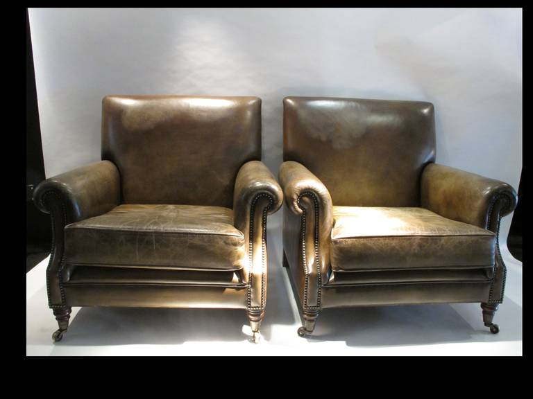 Pair of Large Leather Club Chairs 2