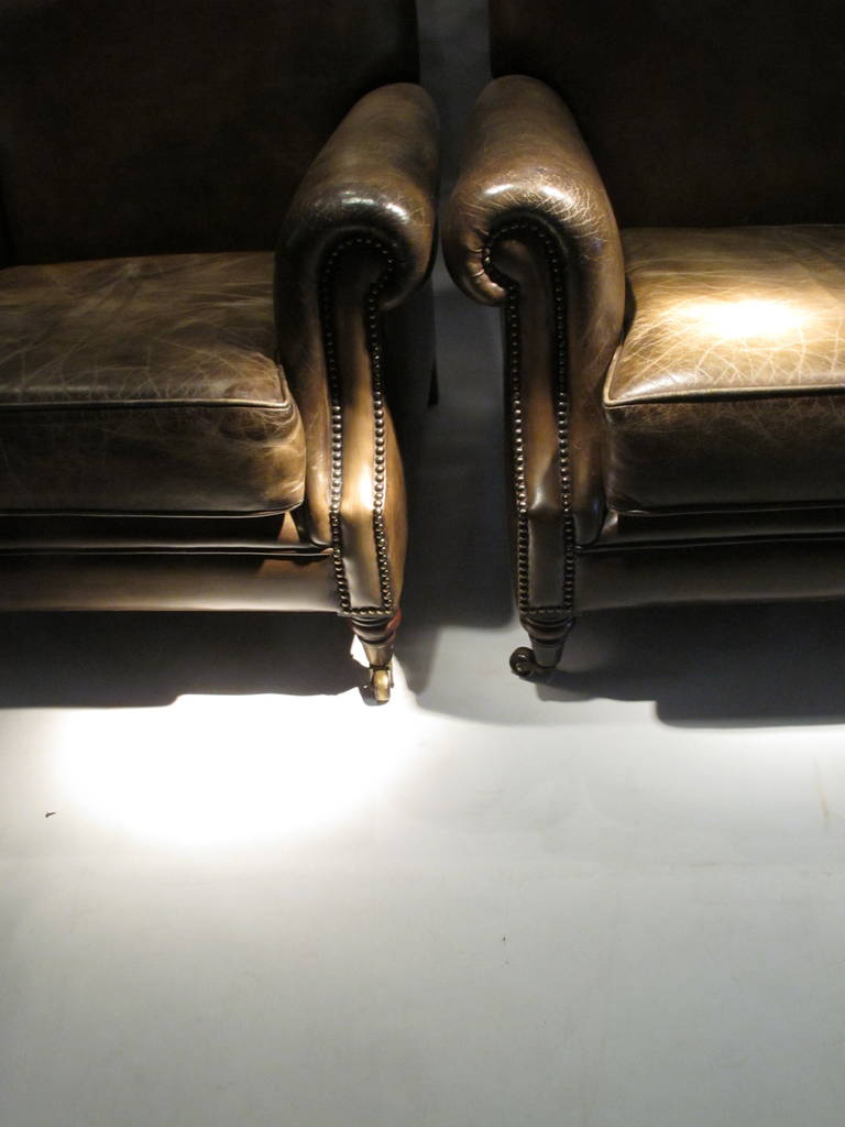 Pair of Large Leather Club Chairs 3
