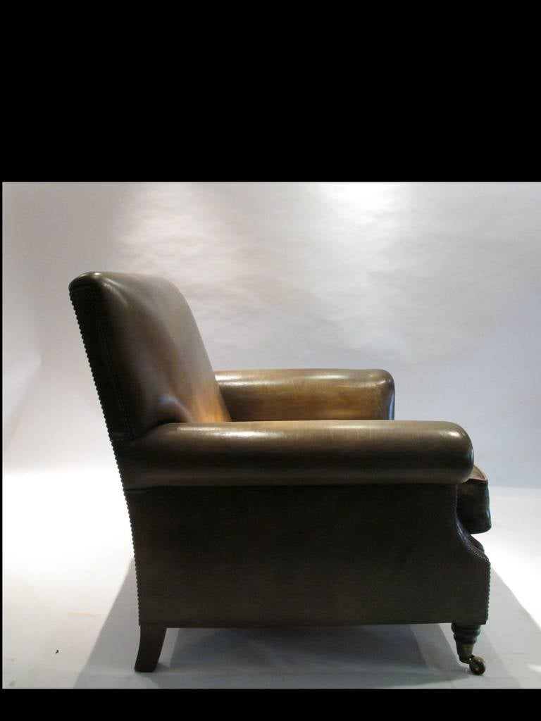 Pair of Large Leather Club Chairs 4