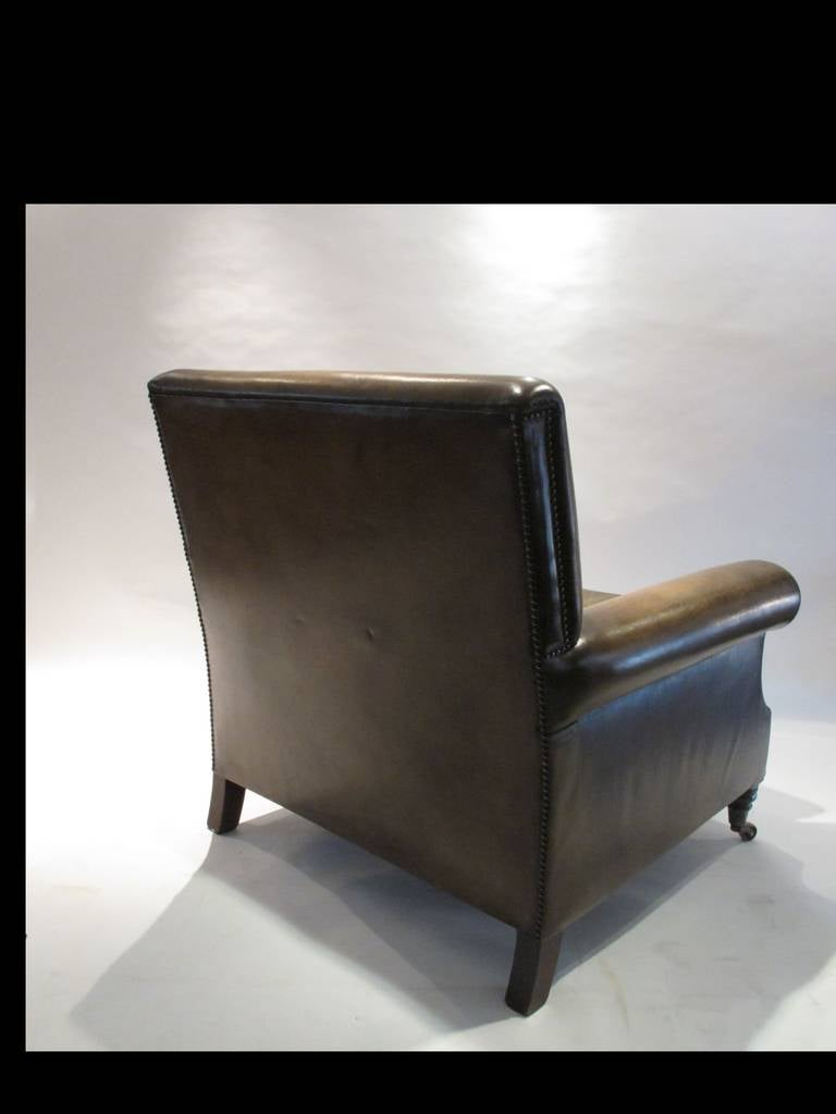 Pair of Large Leather Club Chairs 5