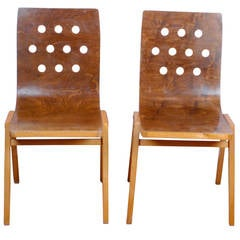 Set of Two Roland Rainer Stacking Chairs