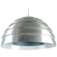 Scandinavian Modern Brushed Aluminum Ceiling Light Dome by Hans-Agne Jakobsson
