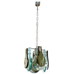 Italian Midcentury Glass Pendant Lamp in the Style of Fontana Arte