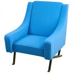 Blauer Italienische Mid-Century Modern Sessel