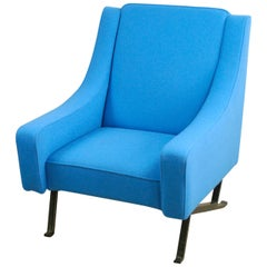 Blue Italian Midcentury Modern Wool and black Iron Armchair