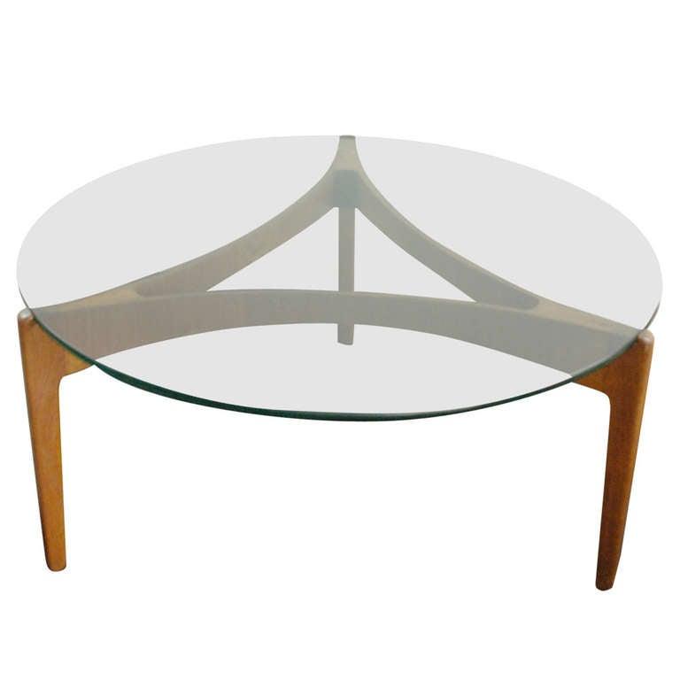 Teak And Glass Coffee Table: Sven Ellekaer Teak And Glass Coffee Table At 1stdibs