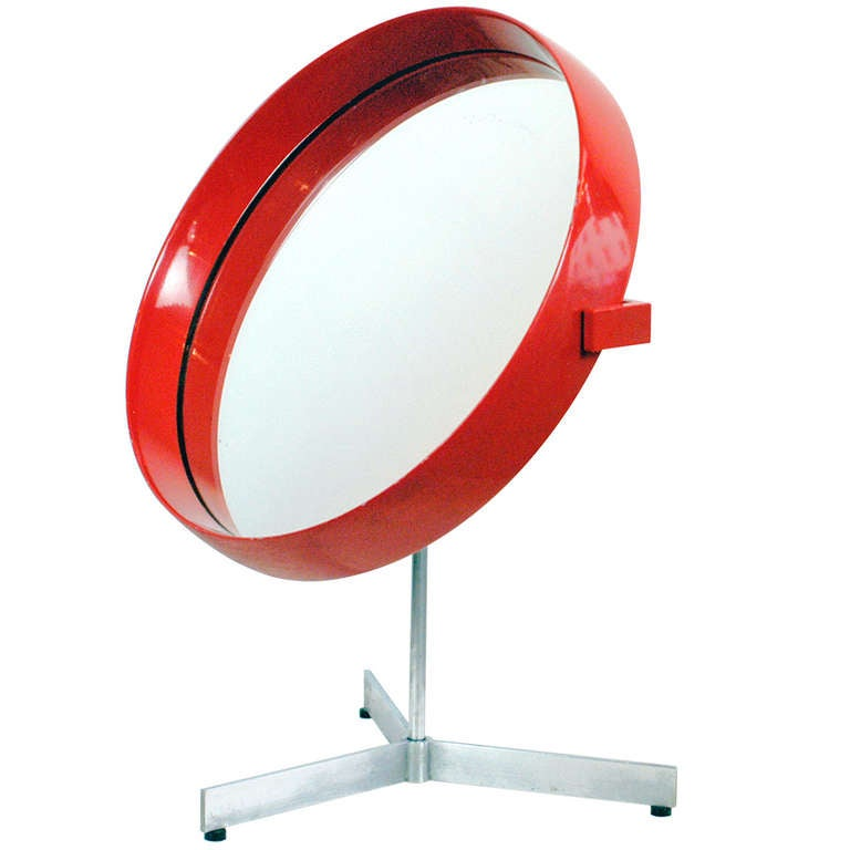 Red Lacquered wooden Scandinavian Modern Table Mirror by U. & Ö. Kristiansson