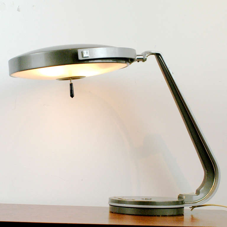 Grey Green Desk Lamp By Lupela Spain With Swiveling Base And 360 Rotating