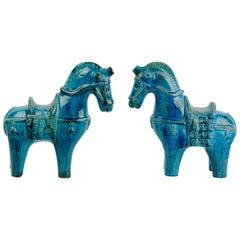 Pair of Aldo Londi Rimini Blu Ceramic Horses