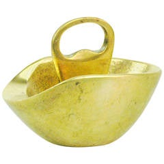 Austrian Modernist Brass Ashtray with Bottle Opener by Carl Auböck