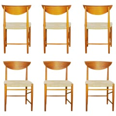 Set of Six Peter Hvidt Model 316 Teak Dining Chairs