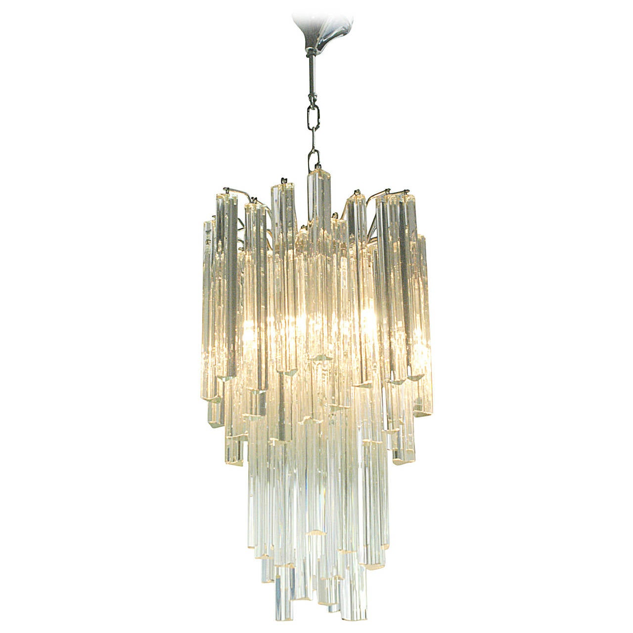 Venini triedi glass cascade chandelier at 1stdibs venini triedi glass cascade chandelier 1 arubaitofo Gallery