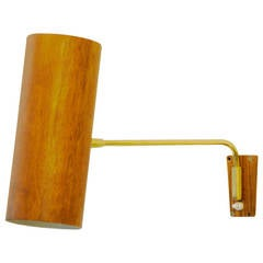 Big Kalmar Brass and Teak Wall Lamp
