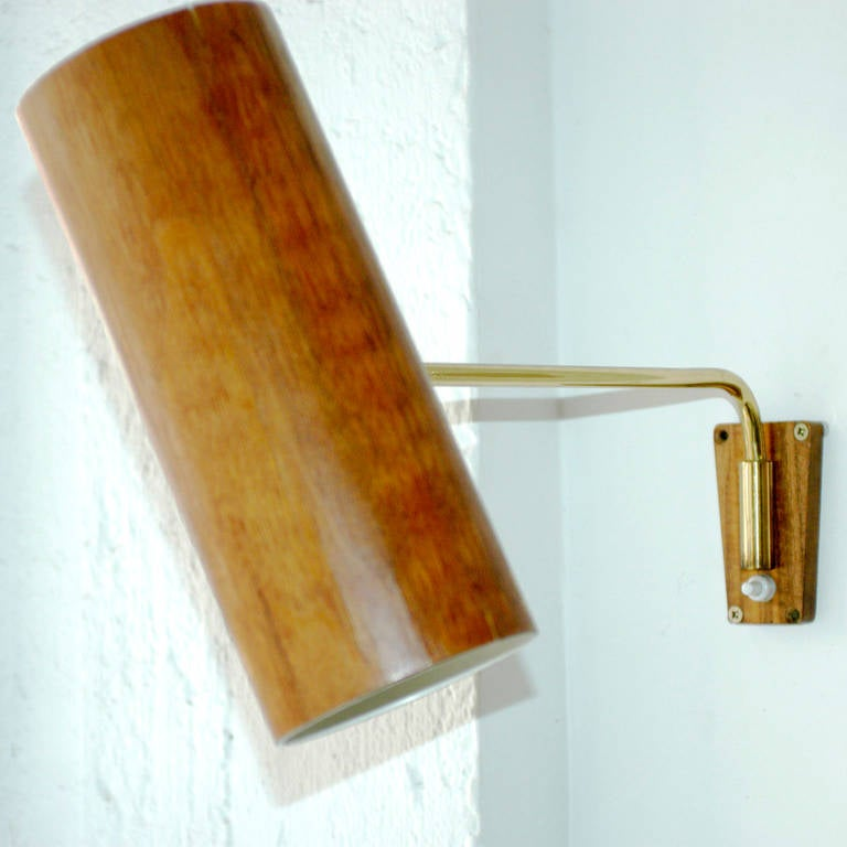 Big Kalmar Brass And Teak Wall Lamp For Sale At 1stdibs