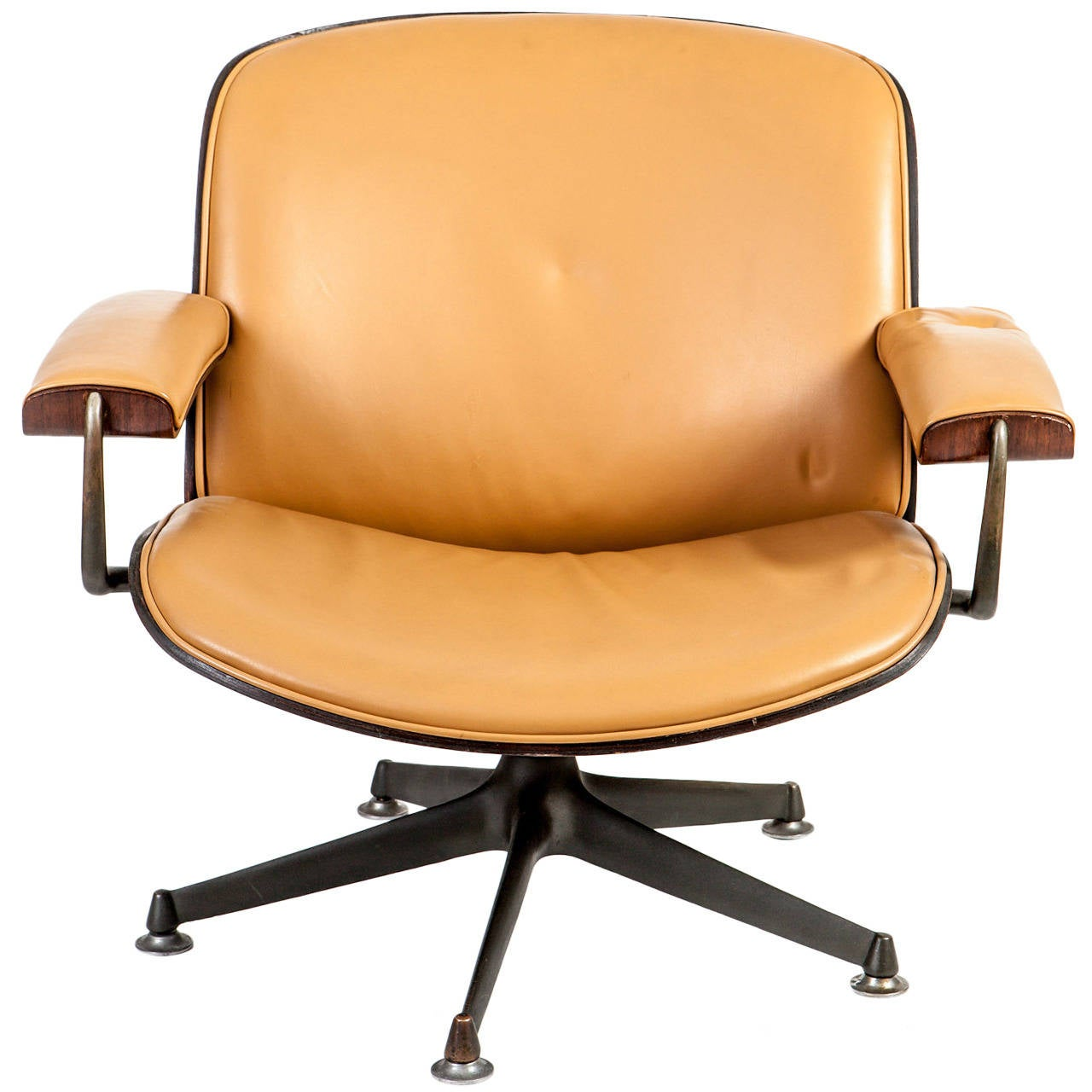 Italian Midcentury Rosewood and cognac Leather Lounge Chair by Ico Parisi