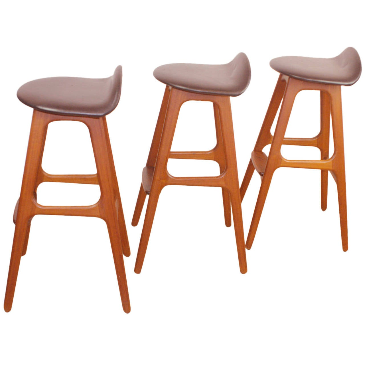Set Of Three Erik Buck Danish Modern Teak Bar Stools At