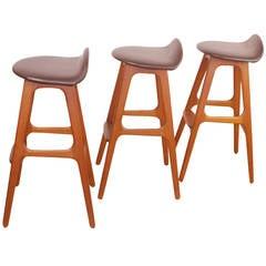 Set of Three Erik Buck Danish Modern Teak Bar Stools