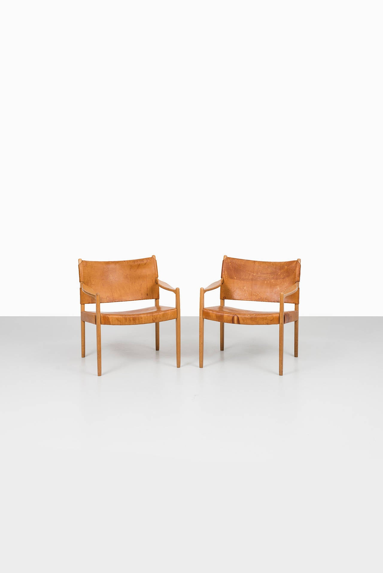 Mid-20th Century Per-Olof Scotte easy chairs model Premiär produced in Sweden