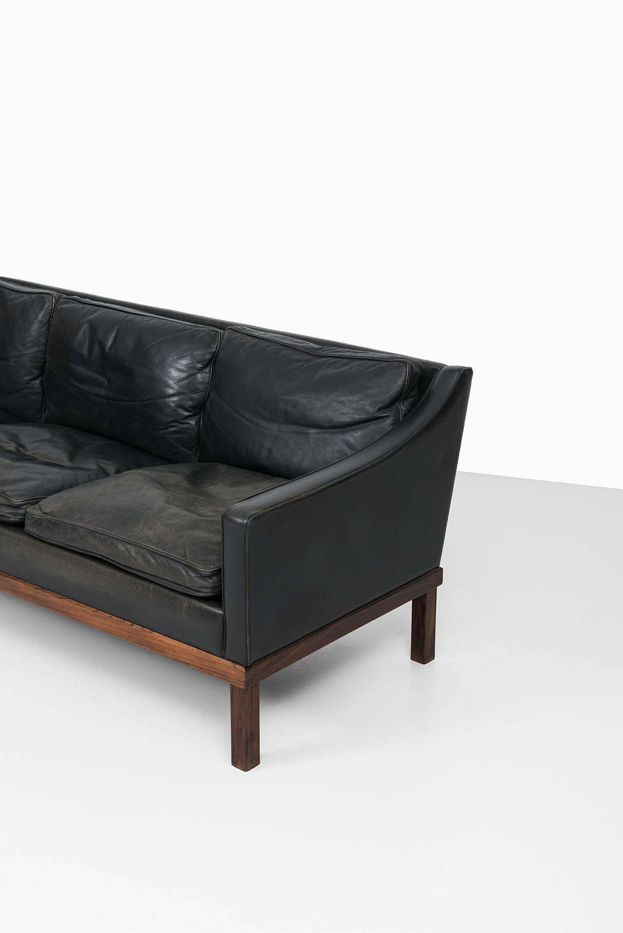 Leather Ib Kofod-Larsen leather sofa by OPE in Sweden For Sale