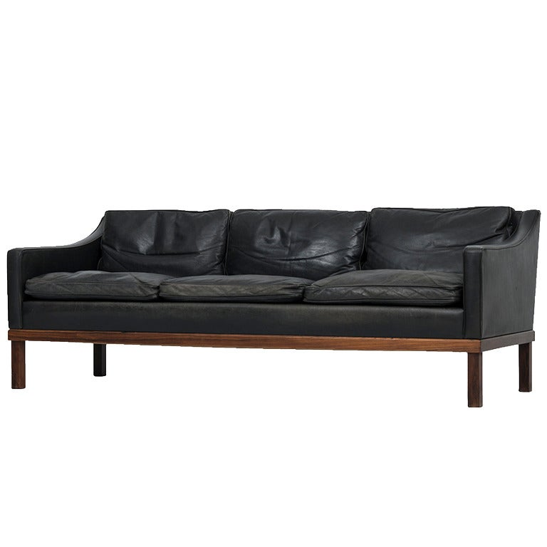 Ib Kofod-Larsen leather sofa by OPE in Sweden For Sale