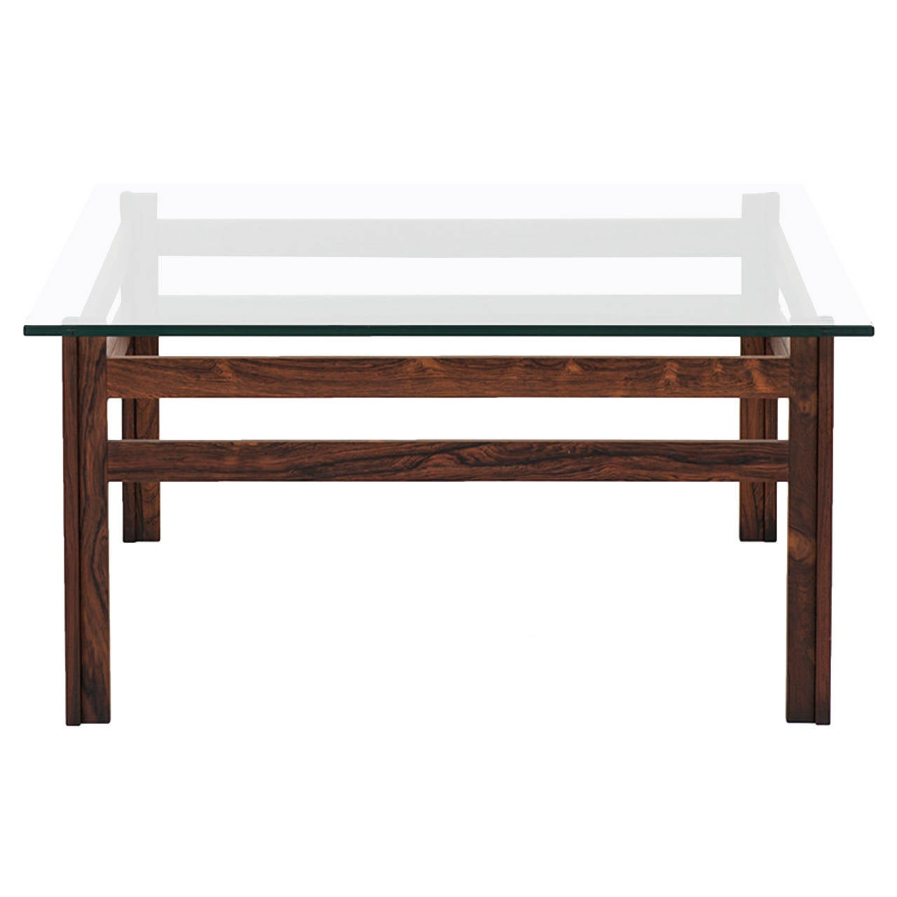 Mid century coffee table in rosewood with thick glass top
