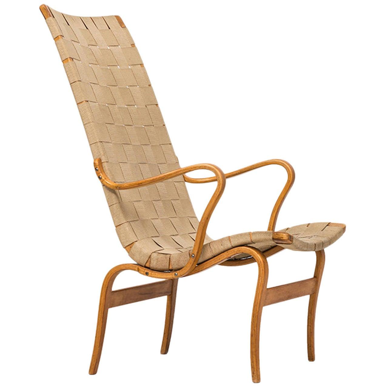 Bruno Mathsson High-Back Eva Chair, Produced by Karl Mathsson in Sweden