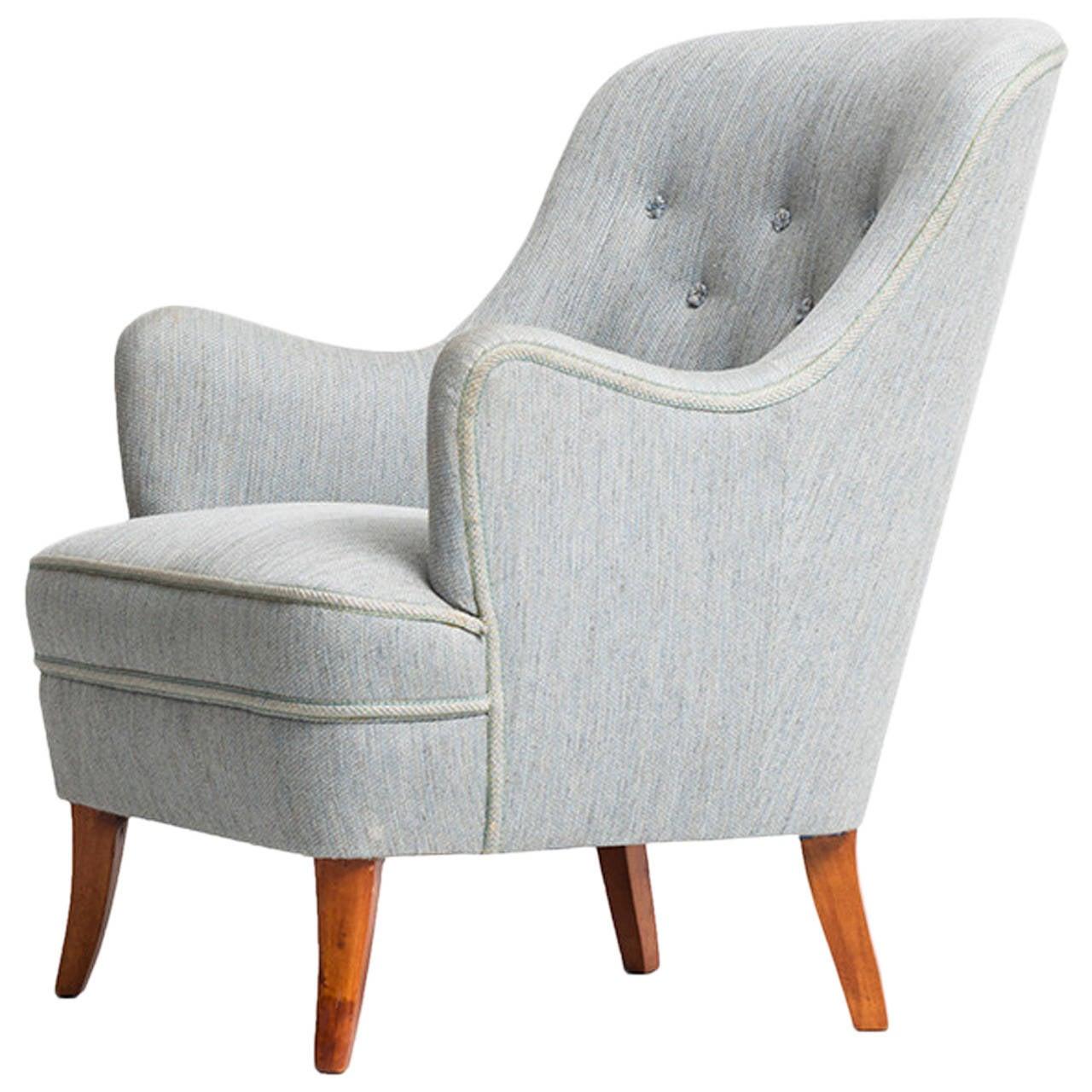 Carl Malmsten Easy Chair by O.H Sjögren in Sweden For Sale