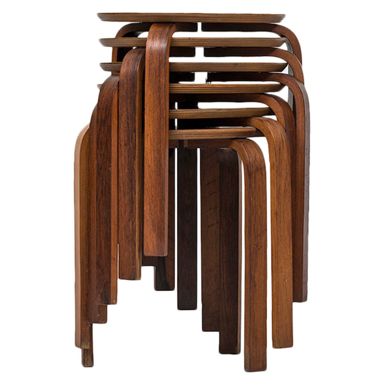 Rare Set Of Six Rosewood Stools Produced In Denmark At 1stdibs
