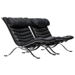 Arne Norell Ari Easy Chairs in Black Leather by Norell AB in Sweden