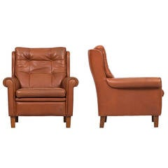 Arne Norell Easy Chairs in Brown Buffalo Leather