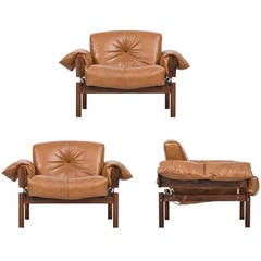 Rare Set of Three Percival Lafer Easy Chairs by Lafer MP in Brazil