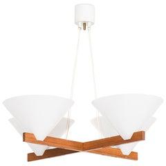Hans-Agne Jakobsson Ceiling Lamp in Teak and White Plastic