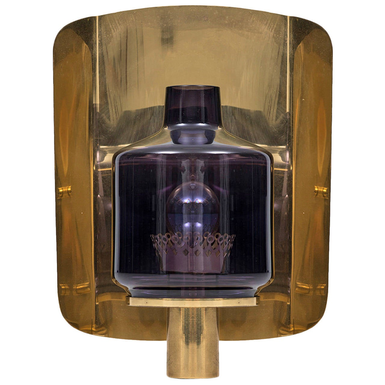 Hans-Agne Jakobsson Wall Lamp or Sconce in Brass and Purple Glass at 1stdibs