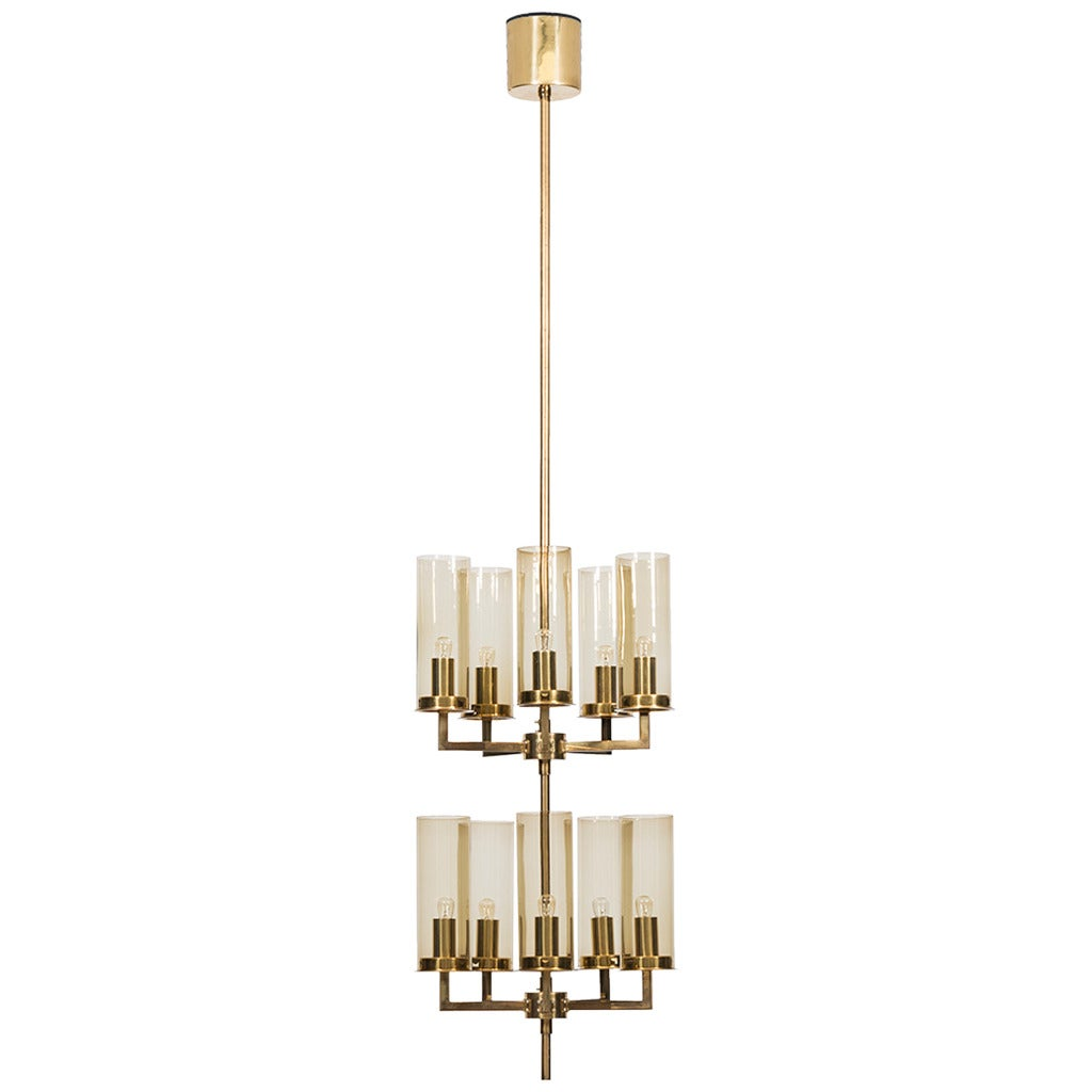 Hans-Agne Jakobsson Ceiling Lamp in Brass and Glass