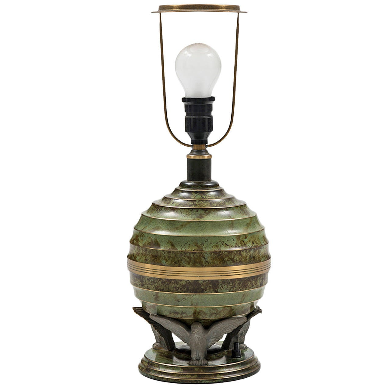 Swedish Art Deco Table Lamp in Bronze and Brass by SVM Handarbete