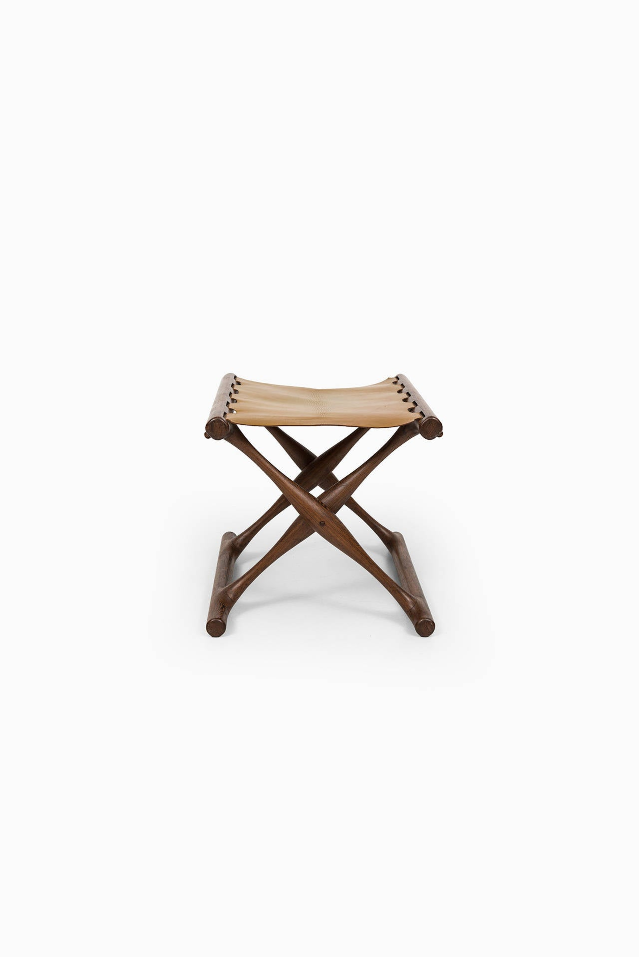 Danish Poul Hundevad Stool, Model Guldhøj (PH 43) in Wengé and Olive Leather For Sale