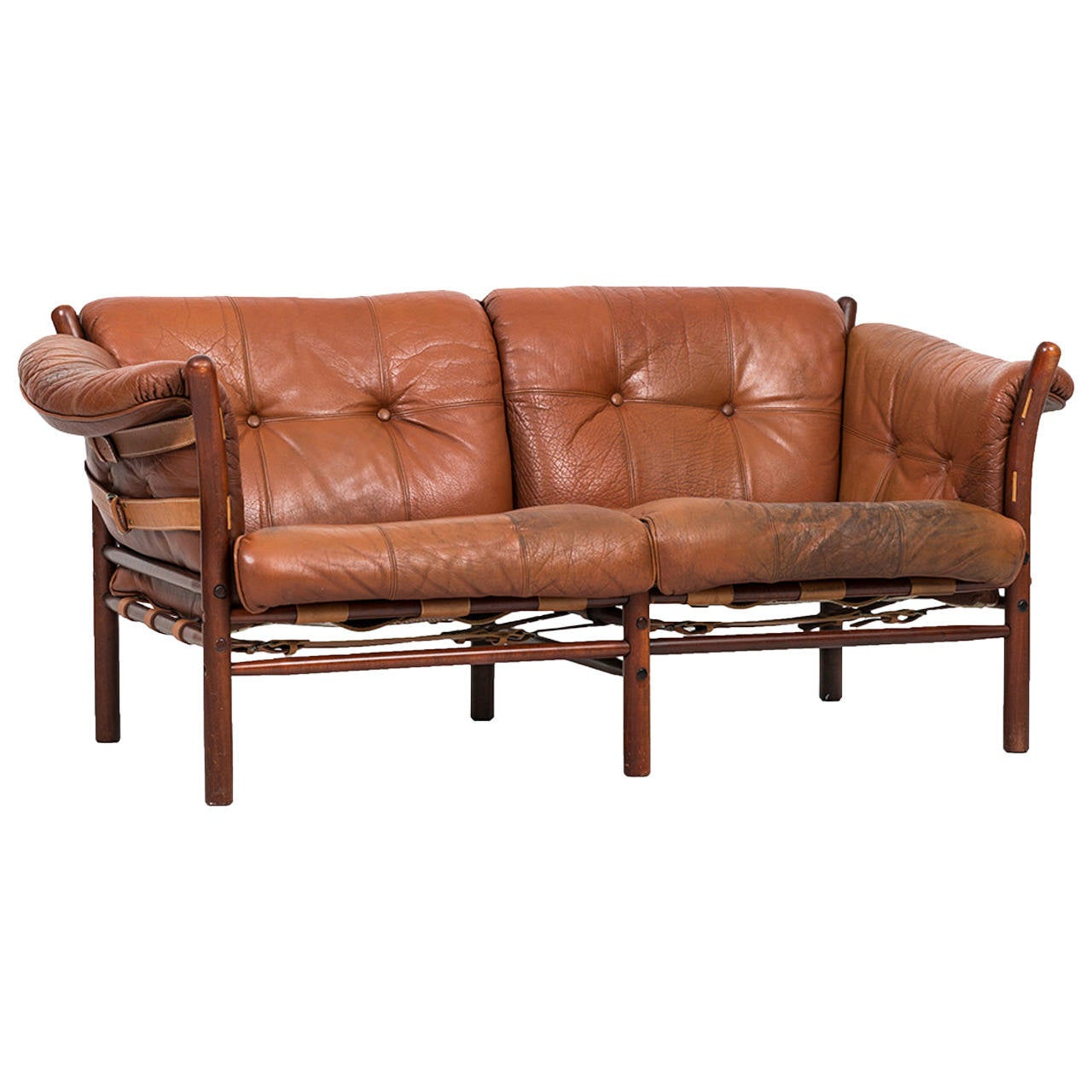 Arne Norell Llona Sofa in Brown Leather by Norell AB in Sweden