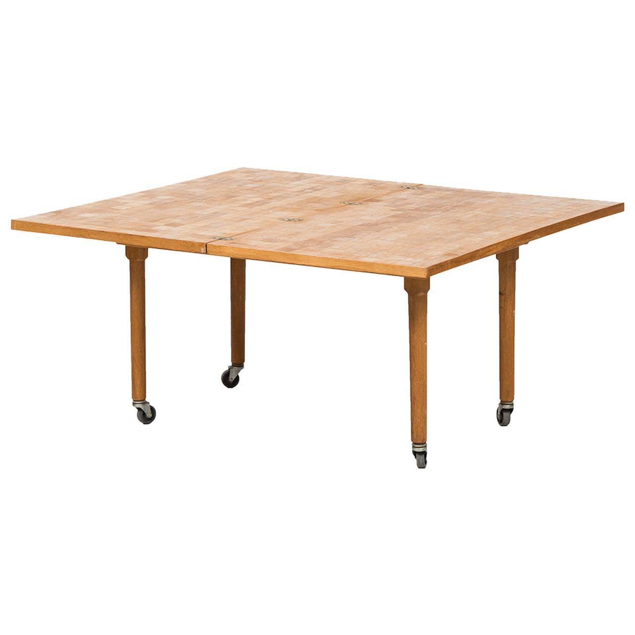 Oak Side Table with Mosaic Pattern