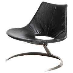 Preben Fabricius & Jørgen Kastholm Scimitar Chair in Black Leather