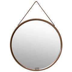 Uno & Östen Kristiansson Round mirror in Oak by Luxus in Vittsjö, Sweden