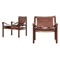 Arne Norell Sirocco Easy Chairs in Brown Leather