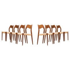 Niels O. Møller Dining Chairs, Model 71 by J.L Møllers møbelfabrik in Denmark