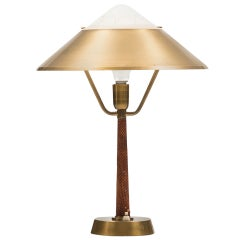 Midcentury Desk Lamp in Brass with Snakeskin Imitation