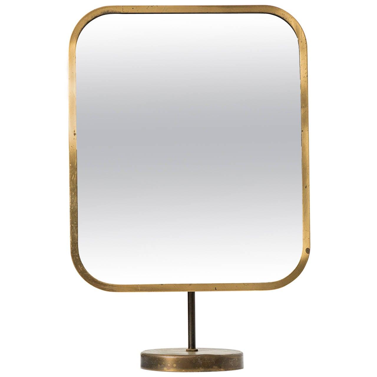 Josef Frank Table Mirror in Brass by Nordiska Kompaniet in Sweden For Sale
