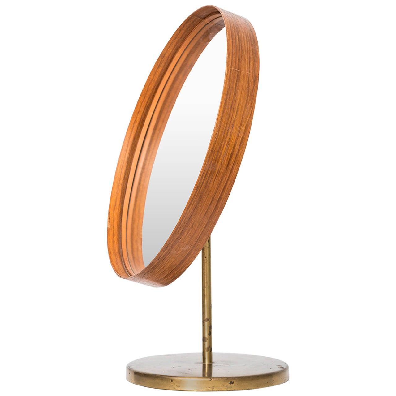 Table Mirror in Teak and Brass by Glasmäster in Markaryd, Sweden